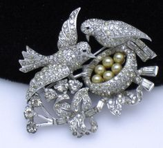 1940 MB BOUCHER Pave Pearl Love Nest Birds on a Branch Brooch Pin