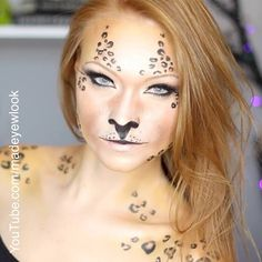 Only eyeshadow and a black eyeliner for this awesome DIY halloween look? Cheetah Halloween Costume, Basic Halloween Costumes, Cat Halloween Makeup, Halloween Looks, Halloween Ideas, Leopard Makeup, Fox Makeup, Cat Makeup Tutorial, Baked Eyeshadow