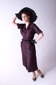 Vintage 1950s Dress  Burgundy and Blue Plaid Day Dress by FabGabs, $56.00