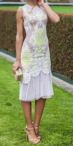 lace + neon dress / J'Aton