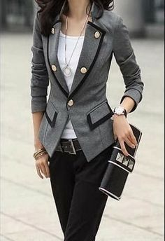 grey coat white blouse black pant with purse
