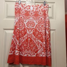 Talbots skirt Orange and white lined skirt - knee length Talbots Skirts A-Line or Full