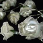 LED Rose String Lights, 20 Roses with Leaves, Battery Op., COOL WHITE $9.45