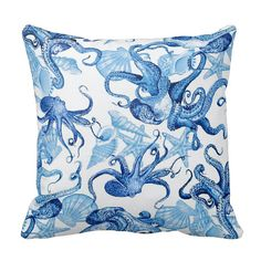 Blue Octopus - Ocean Sea Shells Marine Life - 16x16 18x18 20x20 - Decorative Removable Envelope Pillow Case Cushion Cover - Home Decor on Etsy, $27.74 AUD