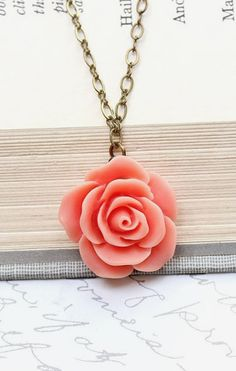 Pink rose necklace country chic flower jewelry pastel fashion floral coral rose necklace single rose pendant romantic jewelry floral jewellery bridesmaids gift spring wedding flower pendant botanical garden audiocablefo