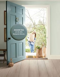Aegean Teal | Photographer: Courtesy of Benjamin Moore Top Paint Colors, Front Door Paint Colors, Painted Front Doors, Paint Colors For Home, Exterior Door Colors, House Paint Exterior, Benjamin Moore Exterior Paint, Teal Door, Best Front Doors