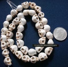 Antique white skull beads day of the dead reconstituted howlite 39 pcs Semi Precious Beads, Human Skull, Beaded Skull, Day Of The Dead, Antiques, Day Of Dead, Antiquities, Antique