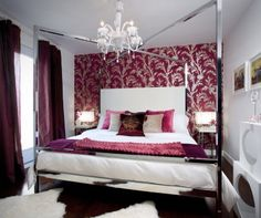 Glamorous bedroom in white and grape.  Designed by Colin & Justin.  Photograph by Brandon Barré.