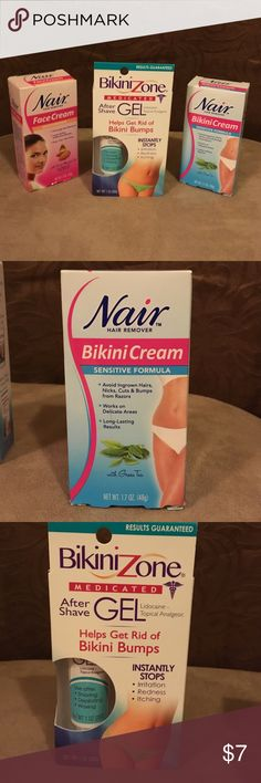 Nair Face and Bikini Cream Plus After Shave Gel NWT Nair hair removal cream specially designed for your face and bikini. Easy removal from the roots for a smooth finish that lasts for weeks. When you're done apply the bikini gel to keep any red bumps or itchiness away. Accessories
