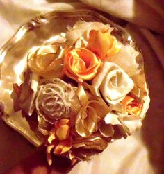 Bridal Bouquet Party Set of 9, Wedding Bouquet, Satin, Vintage Inspired, Ribbon
