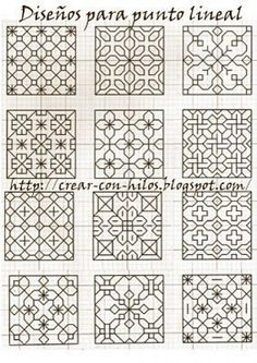 Discover thousands of images about Crear con hilos.: Punto Lineal y 300 mil gracias! Blackwork Cross Stitch, Blackwork Embroidery, Embroidery Stitches, Embroidery Patterns, Geometric Embroidery, Cross Stitches, Blackwork Patterns, Doodle Patterns, Zentangle Patterns