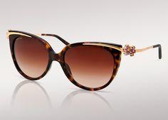 Sunglasses Le Gemme Primavera with amethyst and citrine flowers on havana/YG frame - 8089G 5191/3B
