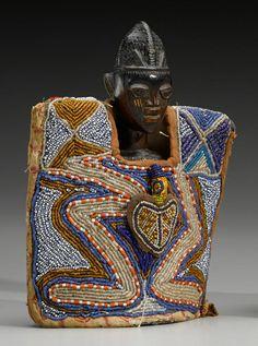 Africa | Twin figure ~ ibeji/ewu ileke ~ wearing a fine beaded gown, from the Yoruba people of Nigeria | Wood, glass beads, cotton, pigments, bead embroidery (couching), pigmentation