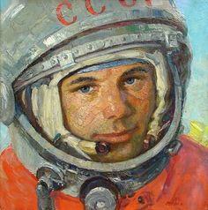 Cosmonaut №1 - Yuri Gagarin 1963. Soviet battle painter Mikhail Ananievich Ananiev