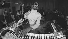 Stevie Wonder in rehearsal, back in the day.  Photo by Tom Zimberoff