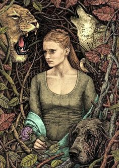 a perfect illo of Sansa. Note the hound with the scarred face, and the little bird on her shoulder, pulling at a wisp of her hair. The artist does this all in *gel pens* (can you fathom that?!) and then colors it in Corel.