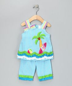 Take a look at this Turquoise Seersucker Tropical Top & Capri Pants - Infant by Rare Editions on #zulily today!