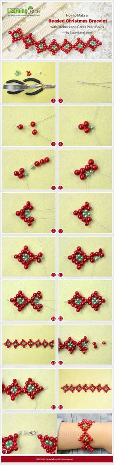 How to Make a Beaded Christmas Bracelet with Firebrick and Green Pearl Beads by wanting