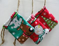 mini small Christmas gift bag cute drawstring pouch by FabricStory, $3.00 - how great would these be in a huge size and buy 1/2 price yardage after Xmas for next year...