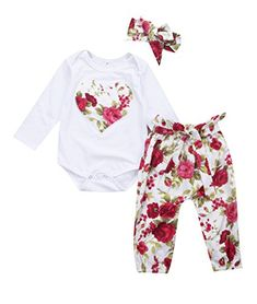 86c20ea7e1bf Newborn Baby Girl Floral Clothes Romper Jumpsuit Bodysuit + Long Pants  Outfits H   Garden
