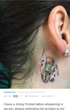 Jiminy cricket watercolor tattoo                                                                                                                                                                                 More