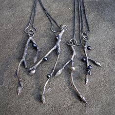 casted cherry branches and pearls