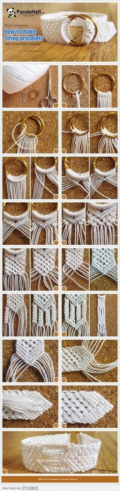 An awesome project for DIY bridal jewelry out of white threads. An awesome project for DIY bridal jewelry out of white threads. The post An awesome project for DIY bridal jewelry out of white threads. appeared first on Armband ideen. Macrame Knots, Macrame Jewelry, Macrame Bracelets, String Bracelets, Jewellery Bracelets, Pandora Bracelets, Knot Bracelets, Macrame Rings, Wedding Bracelets
