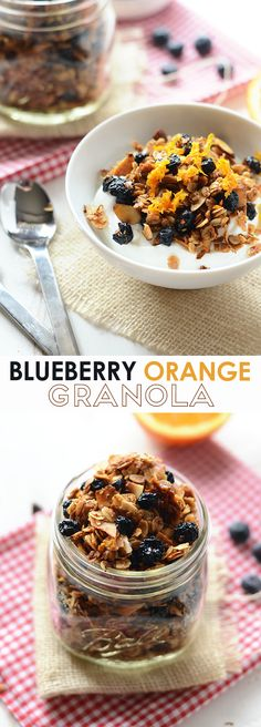 This healthy granola recipe is made with dried blueberries, oats, and orange zest. It's sweetened with honey to give it that sweetness and crunch.