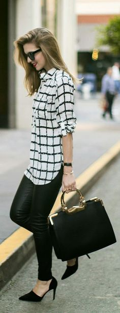 Love the bold print of the shirt! This outfit is visually interesting and would make me feel like a fashionista wearing it. Work Fashion, New Fashion, Autumn Fashion, Fashion Looks, Womens Fashion, Fashion Trends, Street Fashion, Fashion Black, Fashion Ideas