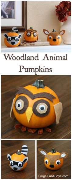 Woodland Animals Felt Decorated Pumpkins - Make an owl, deer, and raccoon.  These are adorable!!