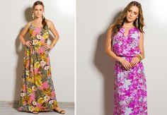 Vestido longo com estampas florais