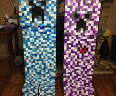 These are elemental creepers from Minecraft.  Its a mod that features different creepers other than the normal green creepers.  My son plays this game...