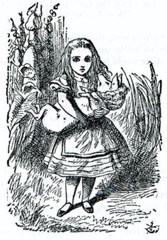 Alice finds herself with the piglet drawings by john tenniel