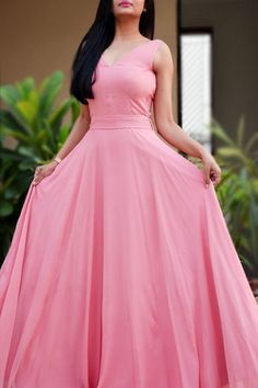 Pink Double Flair Padded Long Dress Women Pink Dresses Online Colorauction is part of Dresses - Party Wear Maxi Dresses, Pink Formal Dresses, Open Back Prom Dresses, Floral Dresses, Dress Party, Formal Wear, Elegant Dresses, Bridesmaid Dresses, Summer Dresses