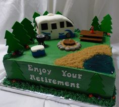 This is a chocolate cake, frosted & filled with buttercream. The RV is cake covered and decorated in fondant and the campfire is a real candle, covered with fondant. All other decorations are hand made from fondant. Retirement Party Cakes, Retirement Celebration, Retirement Party Decorations, Retirement Planning, Paul Cakes, Camper Cakes, Caravan Cake, Fondant, Birthday Sheet Cakes