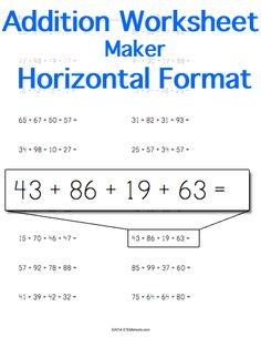 Customizable And Printable Addition Worksheet  Vertical Format