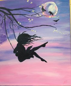 Love these Girl on the swing paintings, had a go at one myself - in acrylics