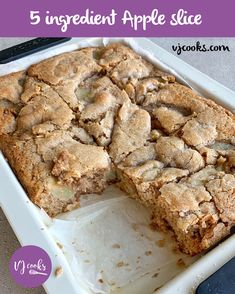 5 ingredient apple slice - Easy recipe from VJ cooks Apple Cake Recipes, Easy Baking Recipes, Dessert Recipes, Desserts, Apple Cakes, Quick Dessert, Cookie Recipes, Sweet Spice, Apple Slices