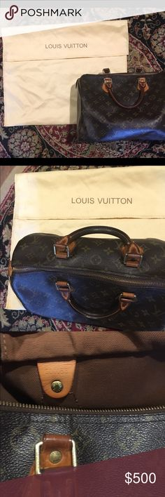 Louis Vuitton, Speedy 30 This classic Louis Vuitton style will always be one of my all time favorites! This bag was actually my first LV I purchased on my 21st birthday in Chicago on Michigan Ave. or some know as The Miracle Mile! It is over all in really good condition leather and lining! The top zipper works but is missing the leather tag hanging from the zipper piece, an easy and not a lot of money for any LV store! The lining does have a fairly large dark spot at the bottom but really…