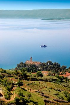 view of Bol and its vineyards looking towards Hvar island , Bra? island, Croatia - rugged-life.com