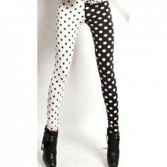 $4.94 New Style Polka Dot Black and White Design Elastic Slimming Milk Silk Leggings For Women