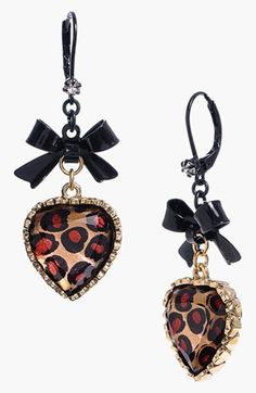 Betsey Johnson Leopard Heart Drop Earrings