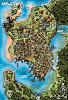 Sandpoint jpg 1 051×1 542 pixels Fantasy city map Fantasy world map Fantasy map
