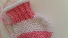 Sapatinho Em Tricô Rosa e Branco ~ RECEITA TRICÔ FÁCIL