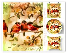 Four Colorful Songbirds decorative pillow spring by BonnieBruno, $35.00