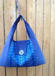 Bountiful Blue Leaf and Vine Slouchy Hobo Bag with Handmade Ceramic Button from the Mignonne Collection