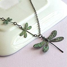 Dragonfly Necklace  Verdigris Patina Brass by mcstoneworks on Etsy, $28.00
