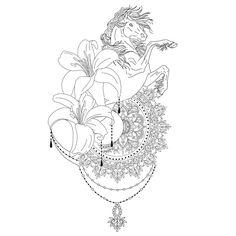 Horse mandala tattoo