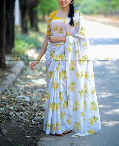 *Blouse work done at additional price Kindly whatsapp @ 7995038888 for placing Orders ! South Indian Blouse Designs, Kerala Saree Blouse Designs, Cotton Saree Blouse Designs, Fancy Blouse Designs, Yellow Kurti, Blouse Designs Catalogue, Floral Print Sarees, Indian Bridal Sarees, Saree Gown