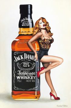 Jack Daniels fine art print by Rachael Foster | Select Art  #jackdaniels #whisky #sexy #lady #heals #popart #painting #acrylic #retro #pinup